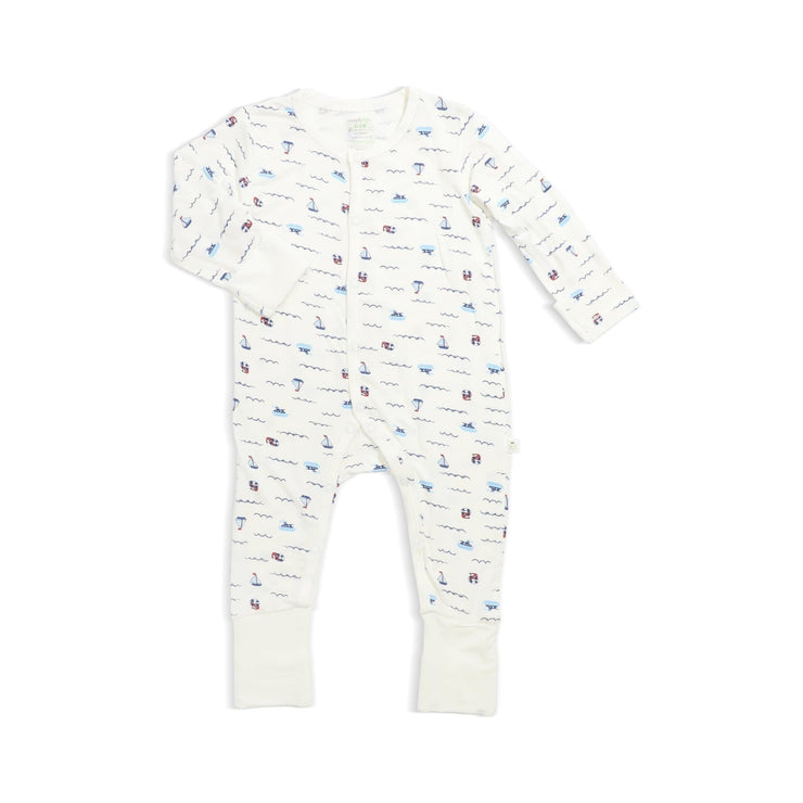 Sailing - Long-sleeved Button Sleepsuit with Folded Mittens & Footie by simplylifebaby
