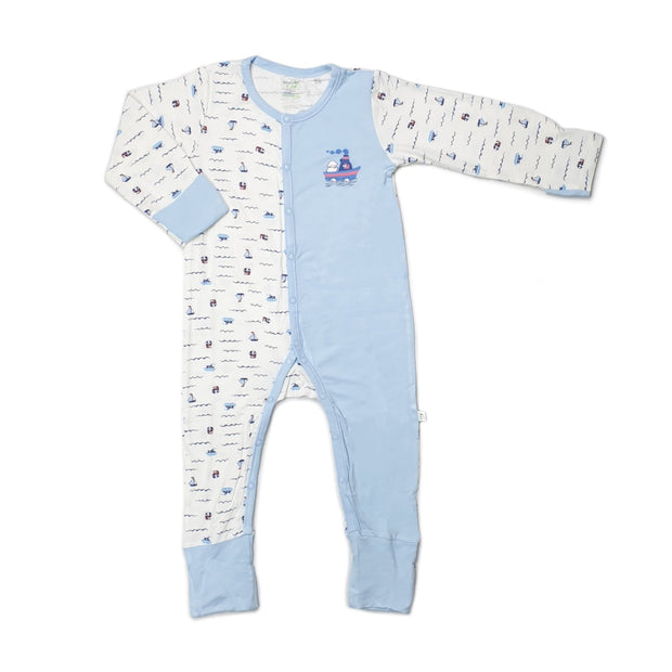 Sailing - Long-sleeved Button Sleepsuit with Folded Mittens & Footie (Spot Print) by simplylifebaby