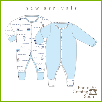 Sailing - Long-sleeved Button Sleepsuit with Folded Mittens & Footie (Value Pack of 2) by simplylifebaby