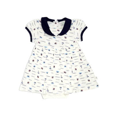 Sailing - Romper Dress with Puff Sleeves & Sailor Collar by simplylifebaby