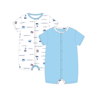 Sailing - Short-sleeved Shortall with Front Buttons (Value Pack of 2) by simplylifebaby