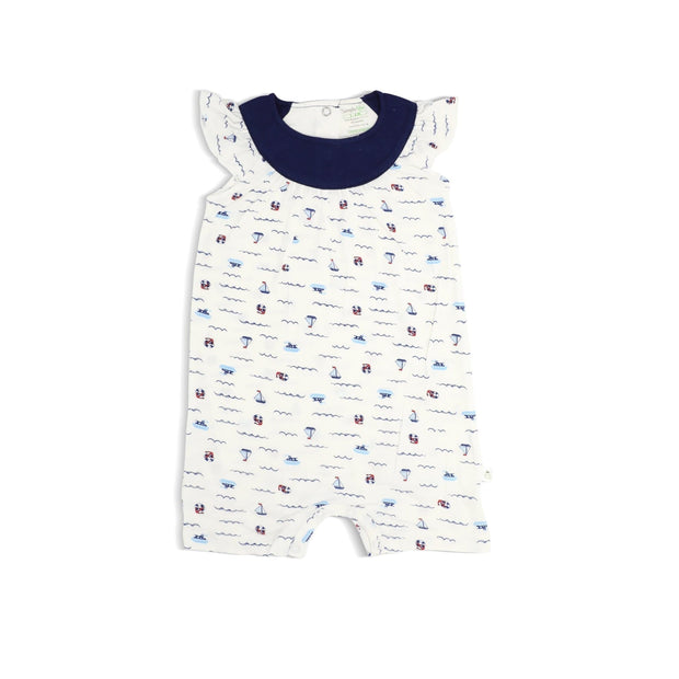 Sailing - Shortall with Frilled Sleeves and Spot Print by simplylifebaby