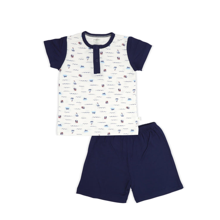 Sailing - Shorts & Tee (Front Buttons) Set by simplylifebaby