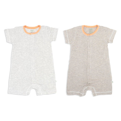Sandwash Khaki and Grey with Orange - Short-sleeved Shortall with Front Buttons (Value Pack of 2) - Simply Life