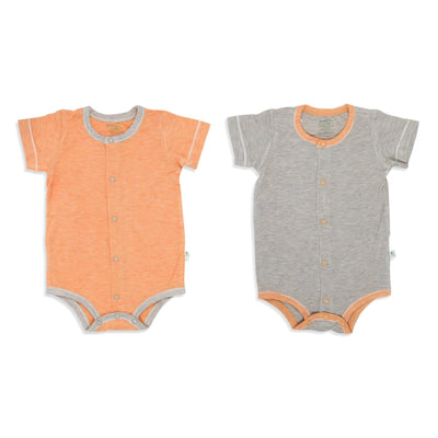 Sandwash Khaki and Orange - Short-sleeved Creeper with Front Buttons (Value Pack of 2) - Simply Life