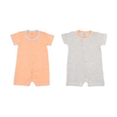 Sandwash Orange and Khaki - Short-sleeved Shortall with Front Buttons (Value Pack of 2) - Simply Life