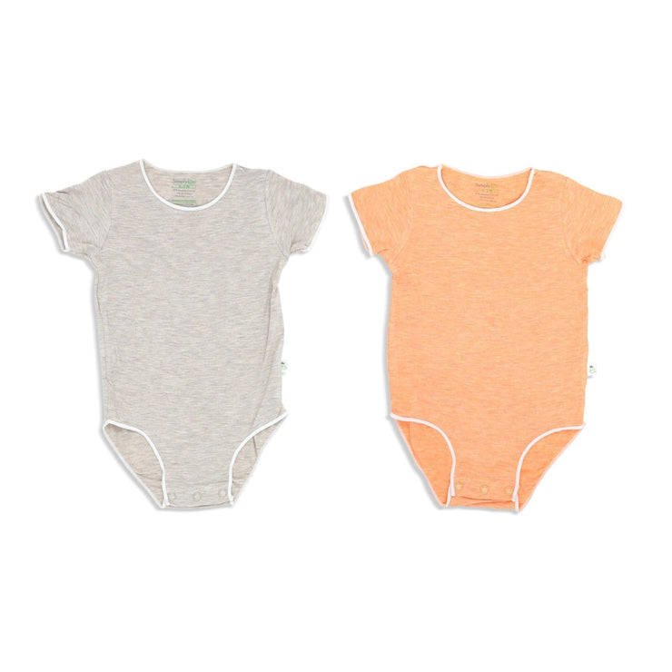 Sandwash Orange and Khaki - Short-sleeved Stretchy Romper (Value Pack of 2) - Simply Life