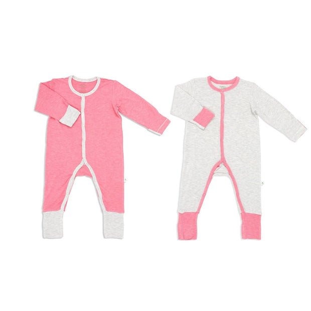 Sandwash Pink and Grey - Long-sleeved Button Sleepsuit with Folded Mittens & Footie (Value Pack of 2) - Simply Life