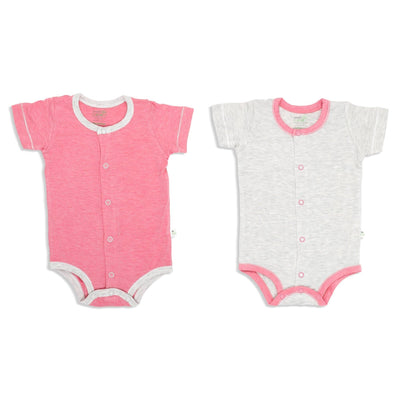 Sandwash Pink and Grey - Short-sleeved Creeper with Front Buttons (Value Pack of 2) - Simply Life