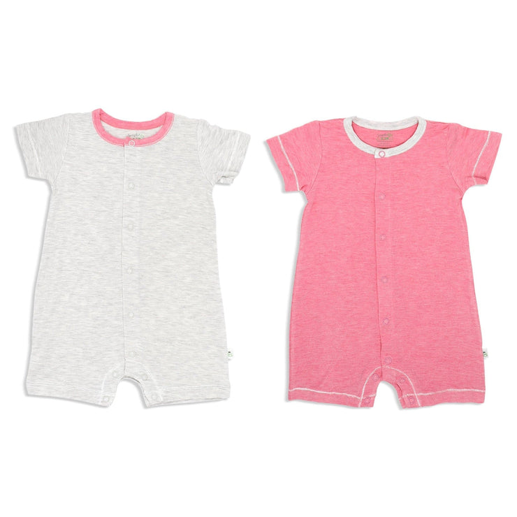 Sandwash Pink and Grey - Short-sleeved Shortall with Front Buttons (Value Pack of 2) - Simply Life