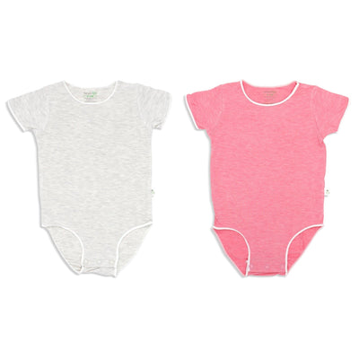 Sandwash Pink and Grey - Short-sleeved Stretchy Romper (Value Pack of 2) - Simply Life