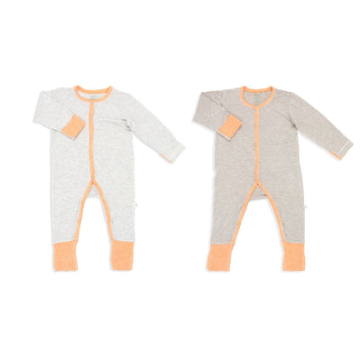 Sandwashed Khaki & Grey with Orange - Long-sleeved Button Sleepsuit with Folded Mittens & Footie (Value Pack of 2) - Simply Life