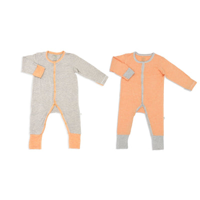 Sandwashed Khaki & Orange - Long-sleeved Button Sleepsuit with Folded Mittens & Footie (Value Pack of 2) - Simply Life