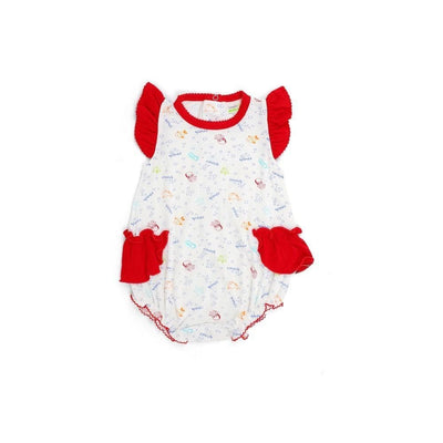 Sea Creatures - Romper with Frilled-sleeves and Ruffled Sides by simplylifebaby