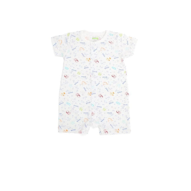 Sea Creatures - Short-sleeved Shortall with Front Buttons by simplylifebaby