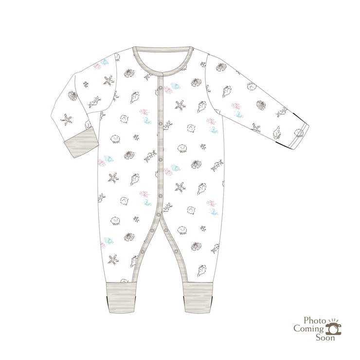 Seashells - Long-sleeved Button Sleepsuit with Folded Mittens & Footie - Simply Life