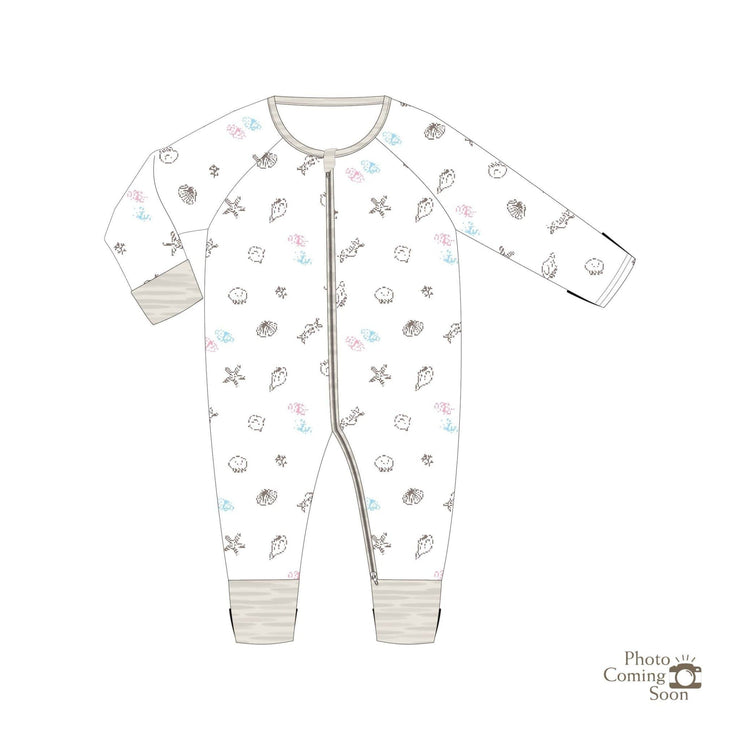 Seashells - Long-sleeved Zipper Sleepsuit with Folded Mittens & Footie - Simply Life