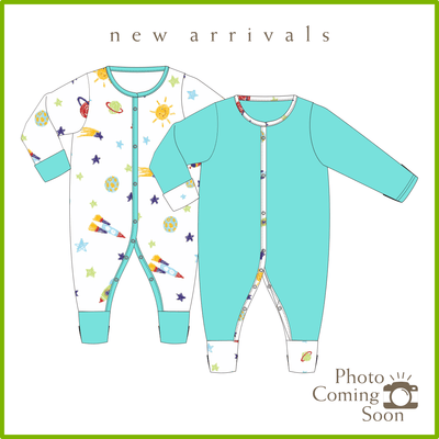Spaceships - Long-sleeved Button Front Sleepsuit with Folded Mittens & Footie (Value Pack of 2) by simplylifebaby