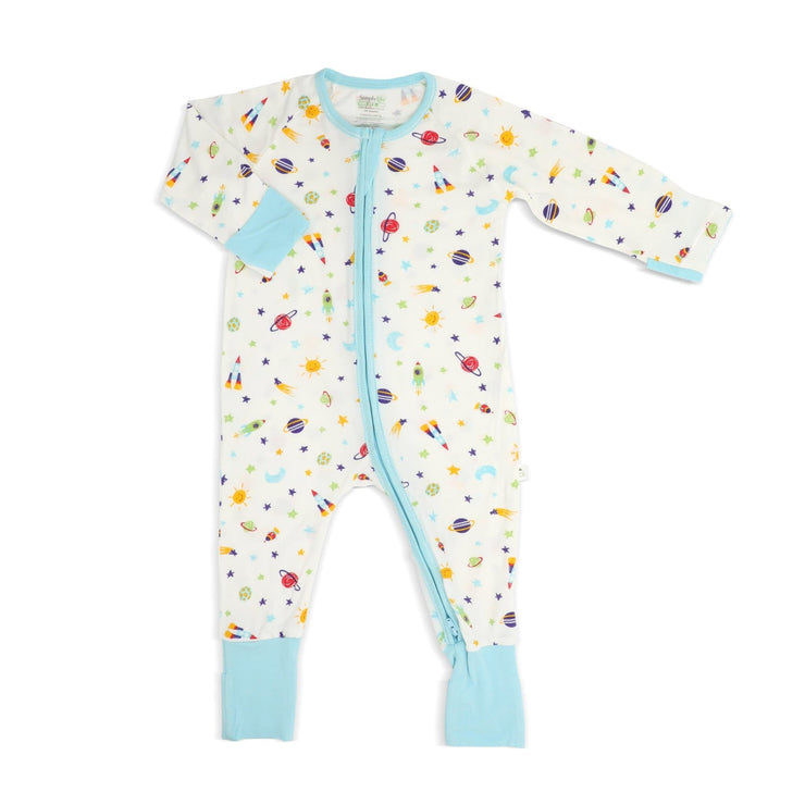 Spaceships - Long-sleeved Zipper Sleepsuit by simplylifebaby