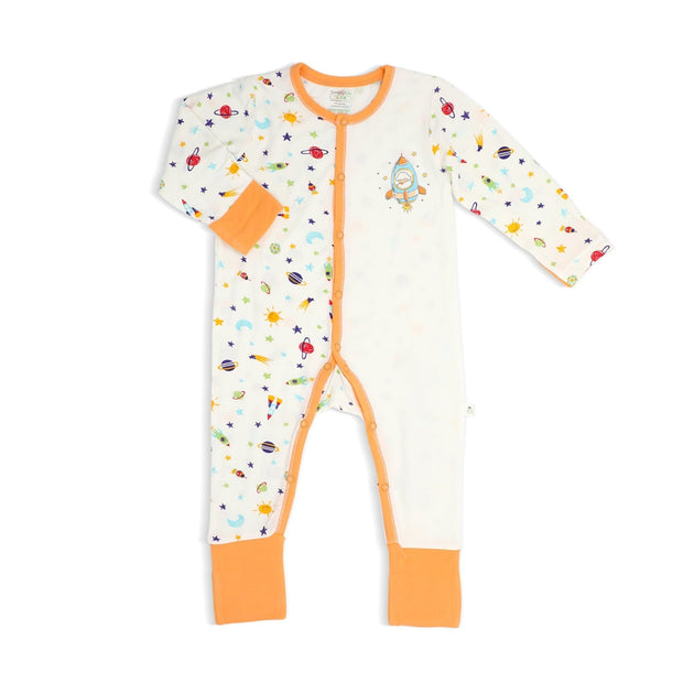 Spaceships (Orange)- Long-sleeved Button Sleepsuit with Folded Mittens & Footie (Spot Print) by simplylifebaby