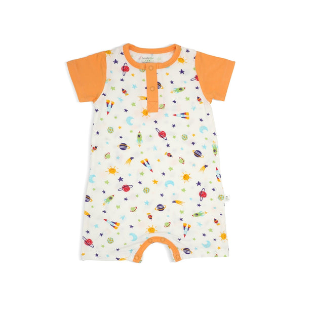 Spaceships - Short-sleeved Shortall with Front Buttons by simplylifebaby