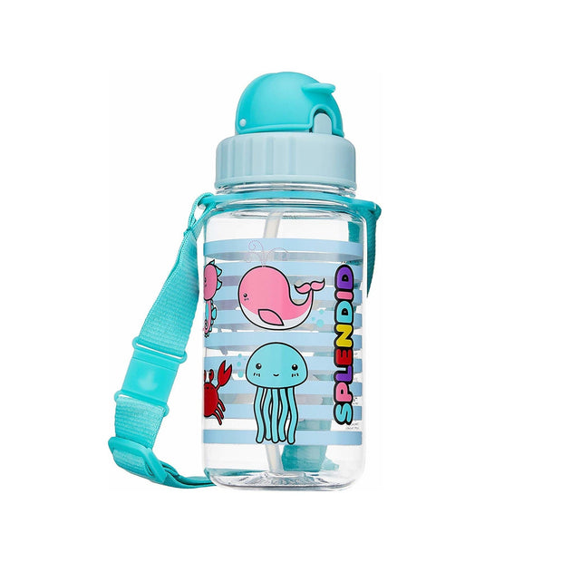 Splendid Sea Creatures - 350 ml Water Bottle with Straw Lid and Strap - Simply Life