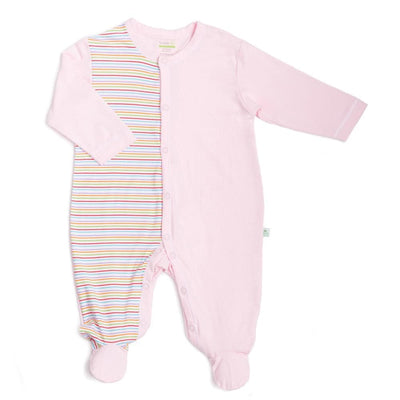 Stripes (Pink) - Long-sleeved Button Front Sleepsuit with Footie - Simply Life