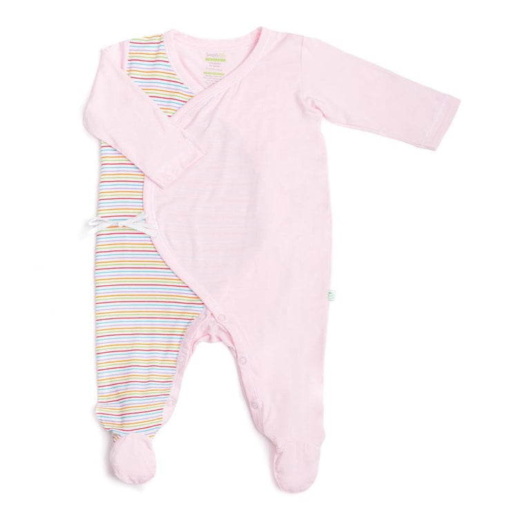 Stripes (Pink) - Long-sleeved Kimono Sleepsuit with Footie by simplylifebaby