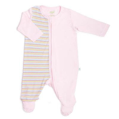 Stripes (Pink) - Long-sleeved Zip-up Sleepsuit with Footie by simplylifebaby