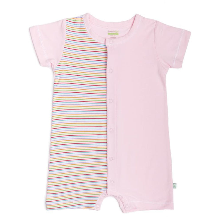 Stripes (Pink) - Short-sleeved Shortall with Front Buttons by simplylifebaby