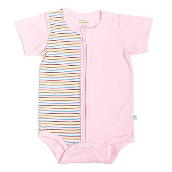 Stripes - Short-sleeved Zip-up Creeper (Pink) - Simply Life