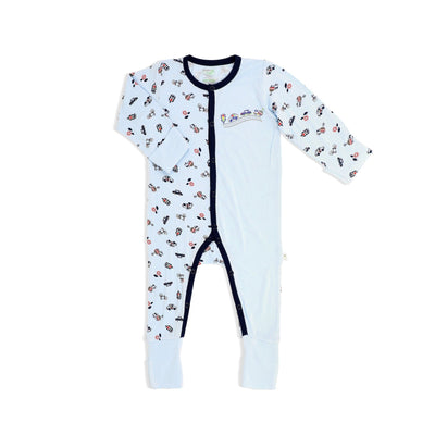 Traffic- Long-sleeved Button Front Sleepsuit with Folded Mittens & Footie (Spot Print) - Simply Life