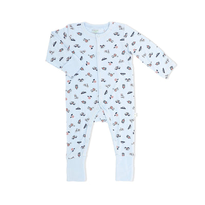 Traffic - Long-sleeved Button Sleepsuit with Folded Mittens & Footie - Simply Life