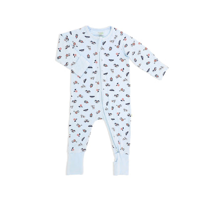 Traffic - Long-sleeved Zipper Sleepsuit with Folded Mittens & Footie - Simply Life