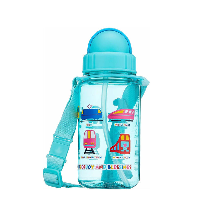 Trains - 350 ml Water Bottle with Straw Lid and Strap - Simply Life