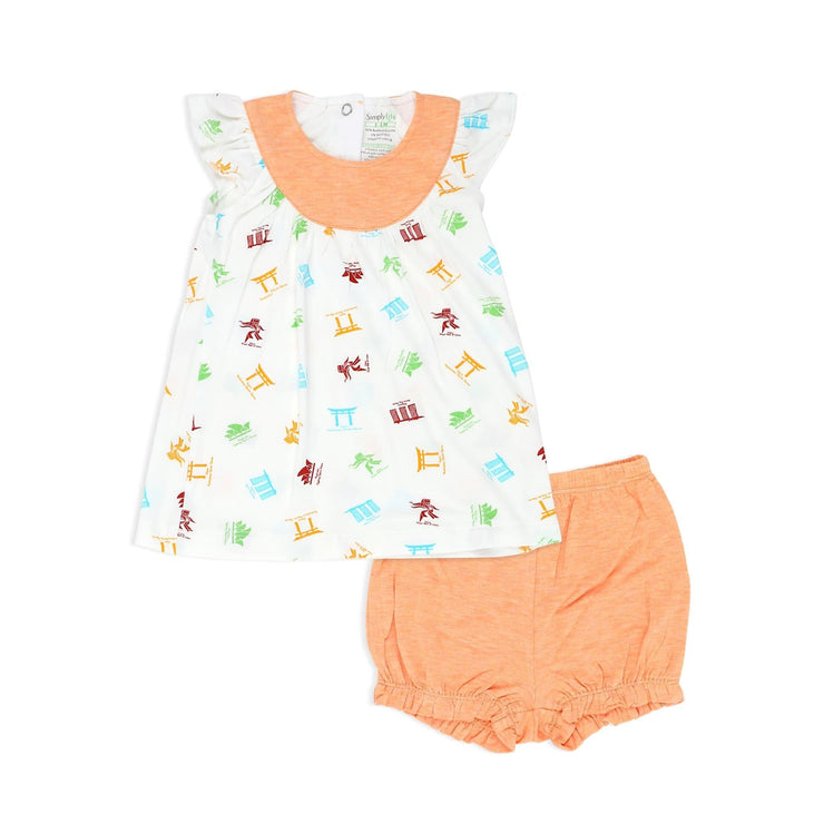 Travel - Blouse with cap-sleeves & bloomer shorts (2pc Set) - Simply Life