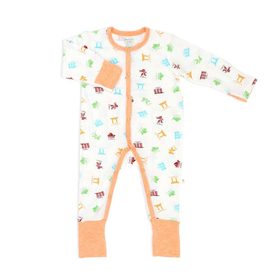 Travel - Long-sleeved Button Sleepsuit with Folded Mittens & Footie - Simply Life