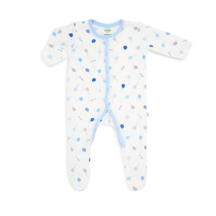 Value Pack - Short-sleeved Envelope Romper / Long-Sleeved Sleepsuit with Covered Footie & Front Buttons Set (BB) - Simply Life