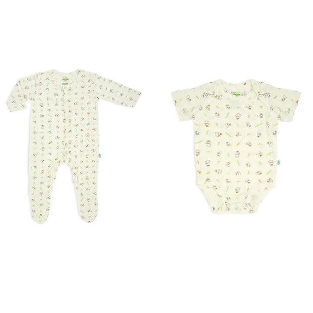 Value Pack - Short-sleeved Envelope Romper / Long-Sleeved Sleepsuit with Covered Footie & Front Buttons Set (BL) - Simply Life