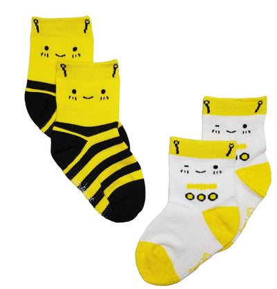 Yellow Bee / Robot - Anti-slip Bamboo Socks (2 Pairs) by simplylifebaby