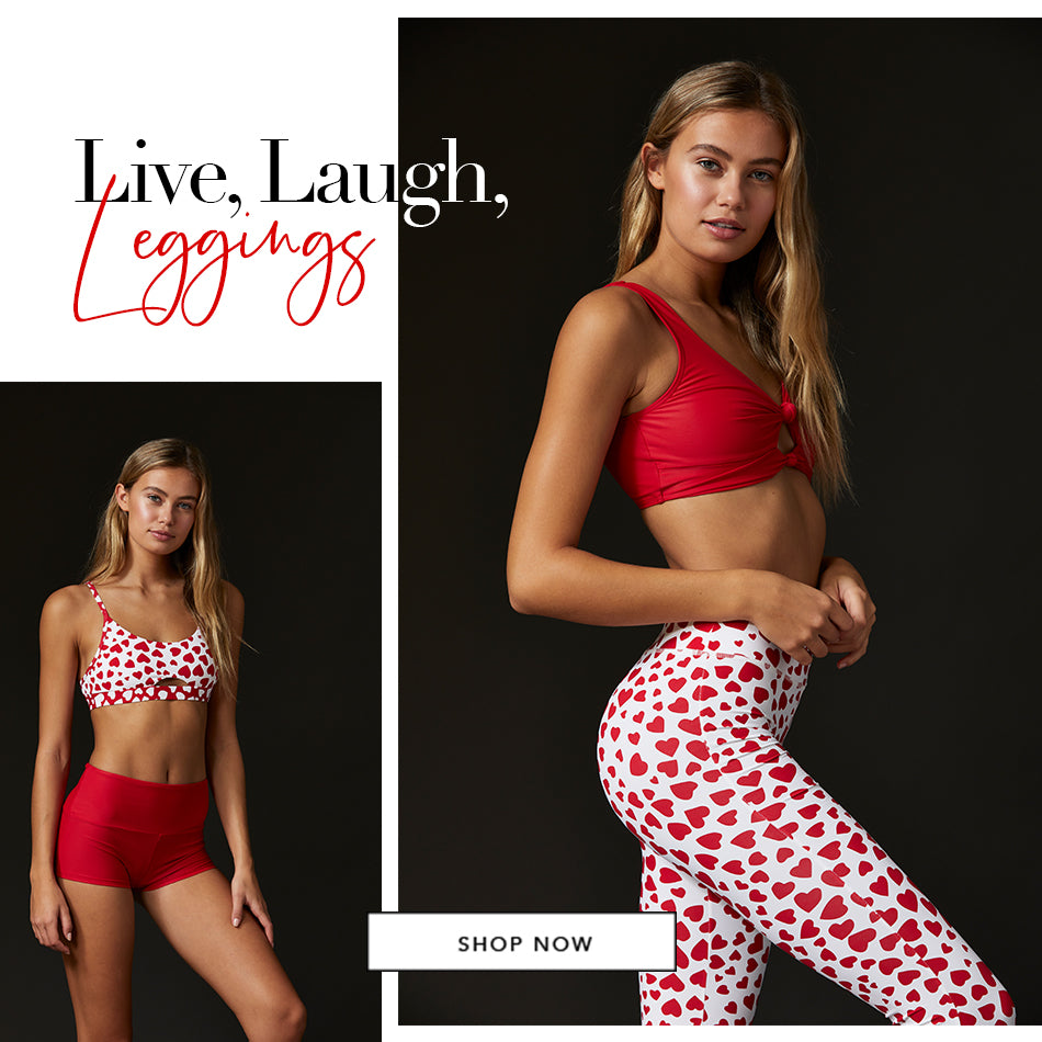 Live, Laugh, Leggings - Model is wearing the Presley bralette in Red & London legging in Hearts. The model is also wearing the London bralette in Hearts & Emma short in Red.