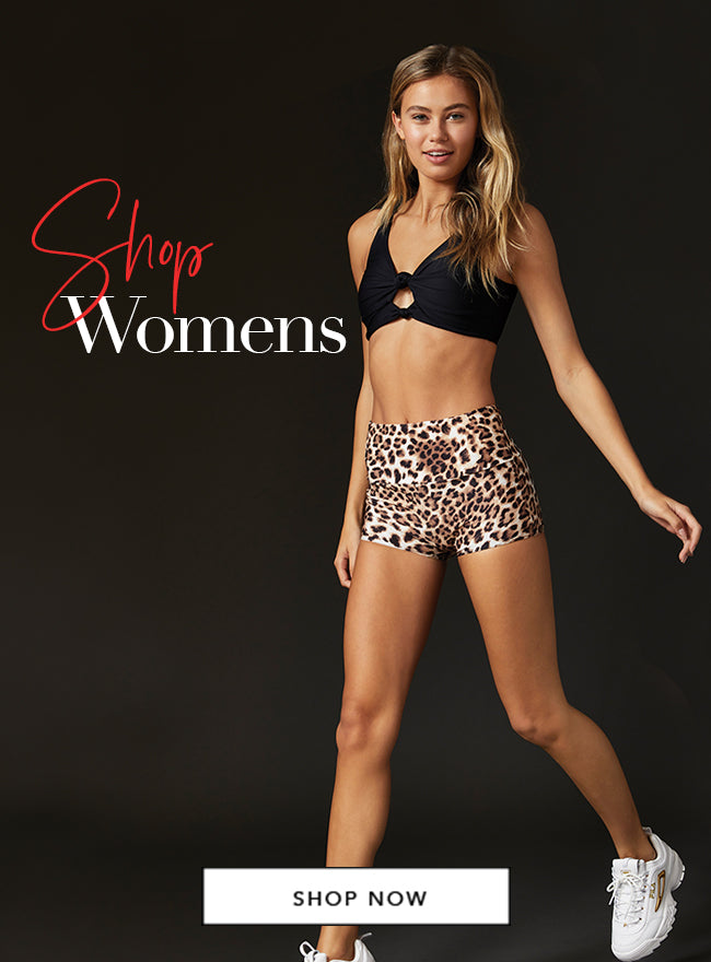 Shop Womens - Model is wearing the Presley bralette in Black & Ryan short in Leopard.