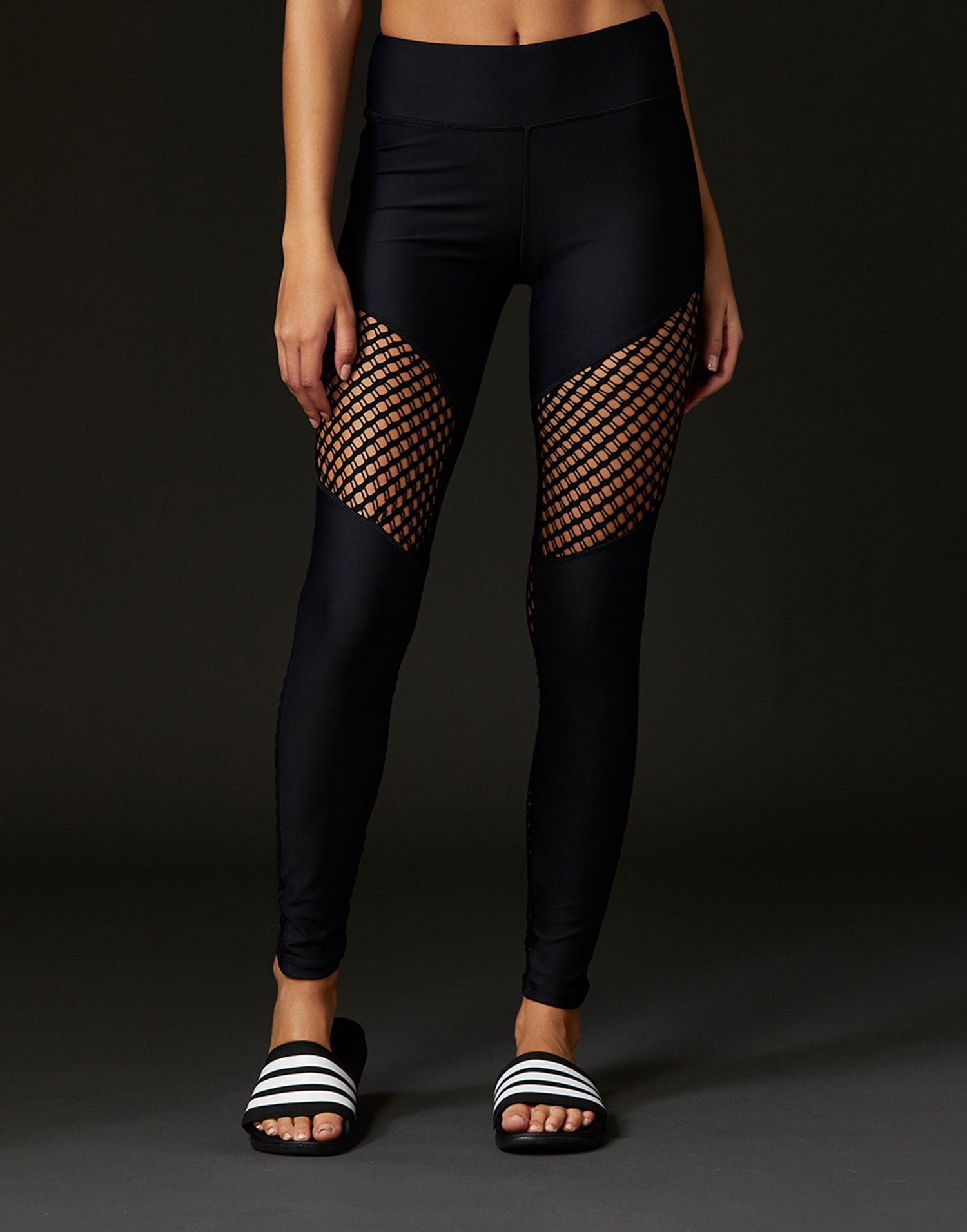 Child Ryder Legging with Sheer Wide Net Inserts in Black - front view