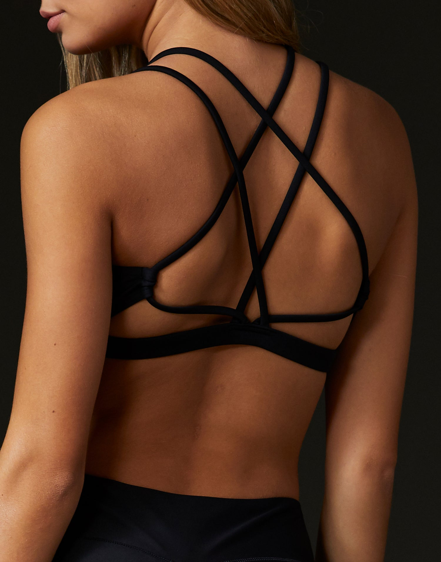 Child Ryder Bralette with Criss Cross Straps in Black - back view