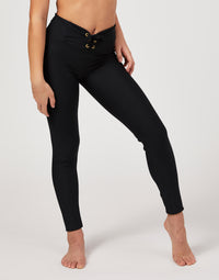 Child Payton Legging with Lace Up Detail in Black - front view