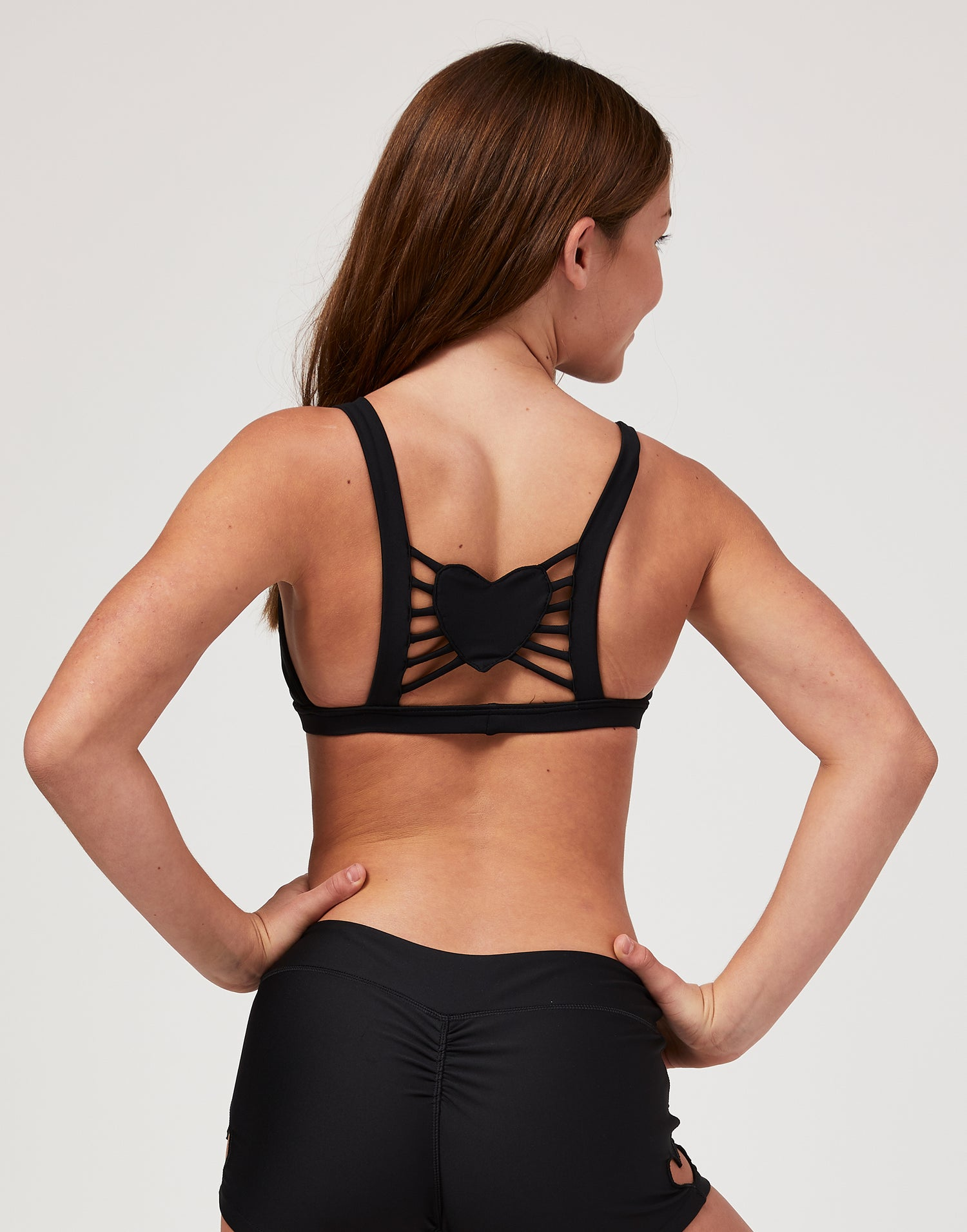 Child Hartley Bralette with Heart Cutout and Strappy Detail in Black - back view