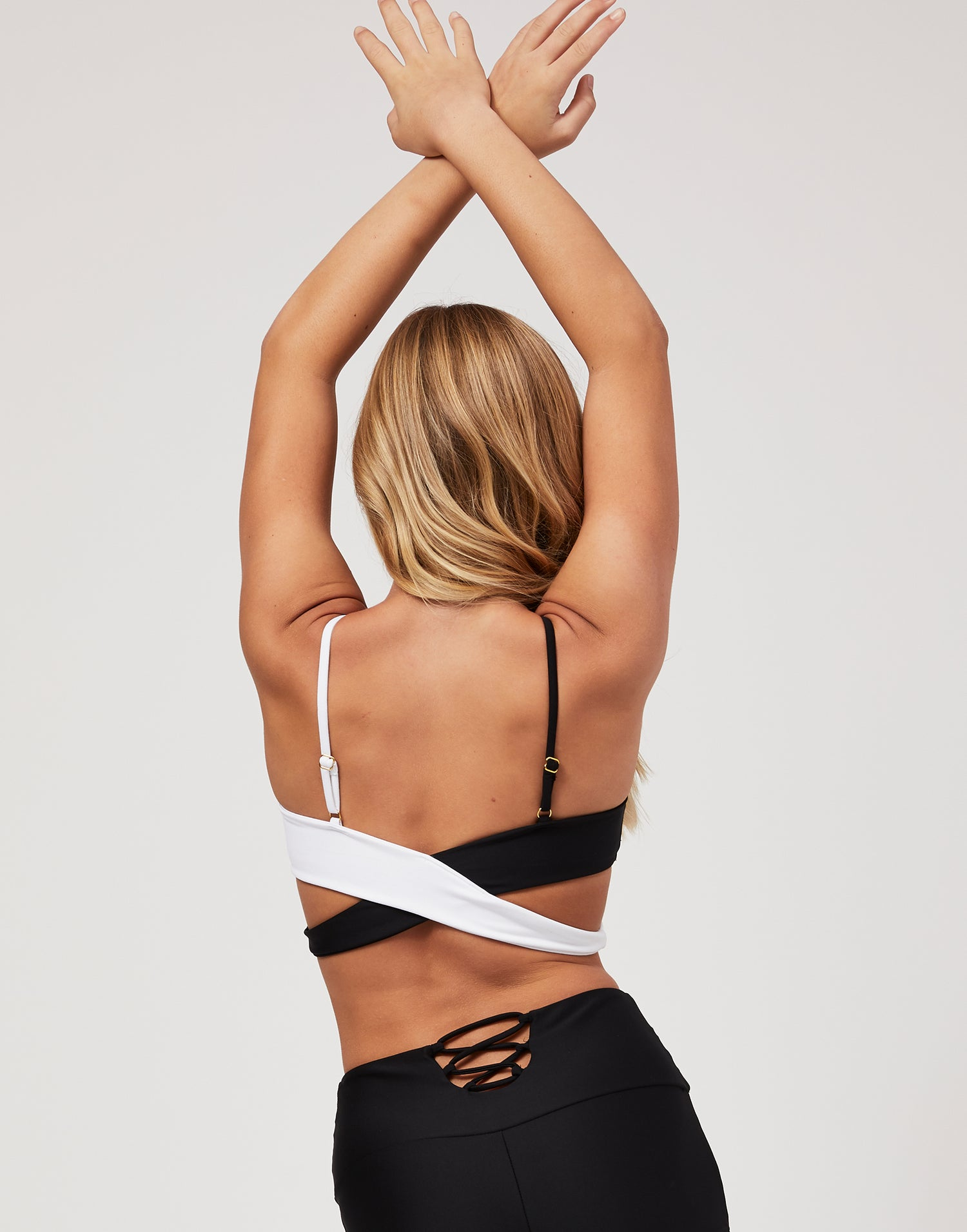 Child Skylar Wrap Top in Black White - back view