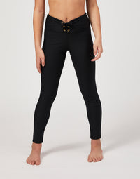 Child Payton Legging with Lace Up Detail in Black - alternate front view