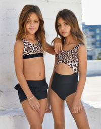 Child Harper Bralette in Leopard - alternate front view
