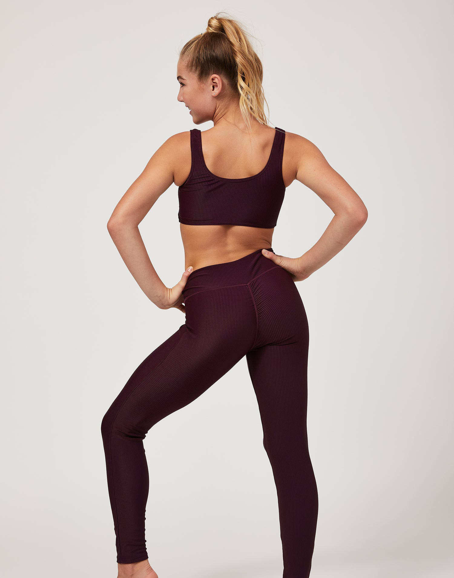 Child London Legging in Eggplant Rib - back view